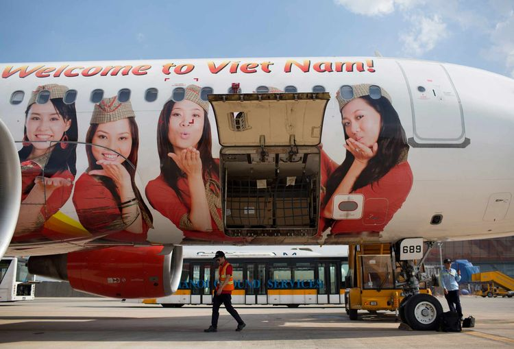 On Board A VietJet Air Flight And Ground Operations At Hanoi Airport