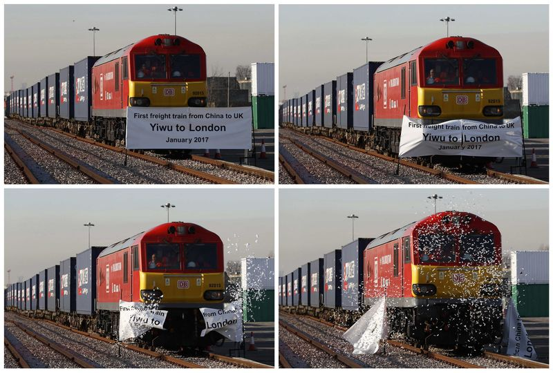 A combination of photos shows the first freight train to travel from China to Britain as it arrives at a welcoming ceremony to mark the inaugural trip at Barking Intermodal Terminal near London