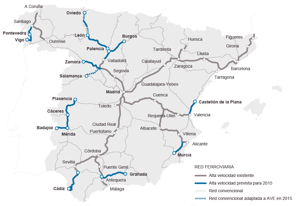 mapa comboios espanha Espanha investe 3,6 mil milhões no AVE em ano de eleições  mapa comboios espanha