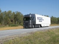 Scania R 500 4x2 Highline with box semitrailer.  Södertälje, Sweden Photo: Peggy Bergman 2016