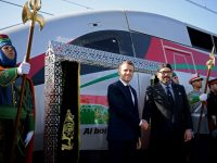 "French President Emmanuel Macron (L) and Moroccan King Mohammed VI (R) shake hands as they inaugurate a high-speed line at Tangiers train station on November 15, 2018. - French President Emmanuel Macron will visit Morocco on November 15 to take part in the inauguration of a high-speed railway line that boasts the fastest journey times in Africa or the Arab world. (Photo by CHRISTOPHE ARCHAMBAULT / POOL / AFP) / ""The erroneous mention[s] appearing in the metadata of this photo by CHRISTOPHE ARCHAMBAULT  has been modified in AFP systems in the following manner: [at Tangiers train station] instead of [at Rabat train station]. Please immediately remove the erroneous mention[s] from all your online services and delete it (them) from your servers. If you have been authorized by AFP to distribute it (them) to third parties, please ensure that the same actions are carried out by them. Failure to promptly comply with these instructions will entail liability on your part for any continued or post notification usage. Therefore we thank you very much for all your attention and prompt action. We are sorry for the inconvenience this notification may cause and remain at your disposal for any further information you may require."""