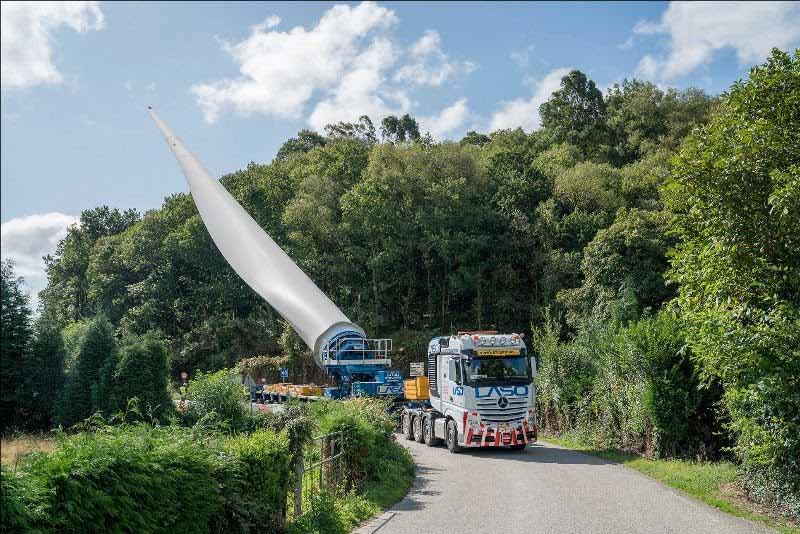 Laso transportará pás eólicas de 67 metros e geradores de 120 toneladas