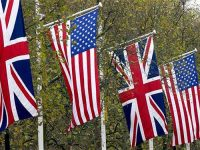 British and American flags in The Mall for a State Visit,  London, United Kingdom.